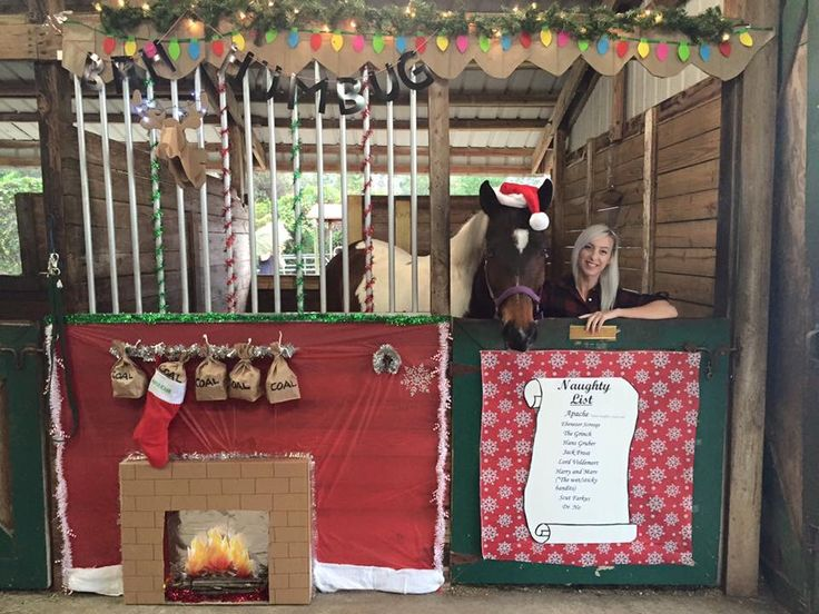 "My horse's Christmas stall for our 2015 stall decorating contest... I revisited our ""Naughty List"" theme from a few years back. Apache's name is at the top of the naughty list (as always!), coal in his stocking that is hanging from the mantle above the fireplace, and new this year... A cardboard mounted deer head (from target) and dollar store lights on its antlers to hang over the mantle. I also added a ""bah humbug"" banner hanging across the front (since he was grumpy from being on the…"