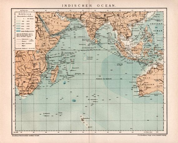 Best Old Maps Images On Pinterest Old Maps Vintage Maps And - Indian ocean seychelles map