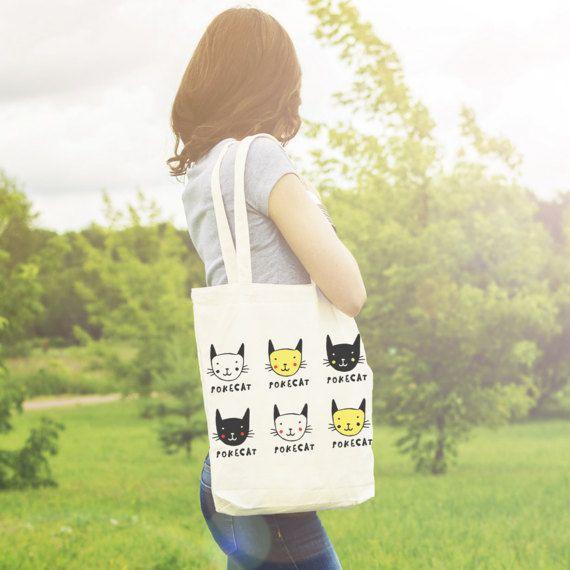 Cat Tote Bag Pokemon Cat Bag Cat Pikachu Cat Faces