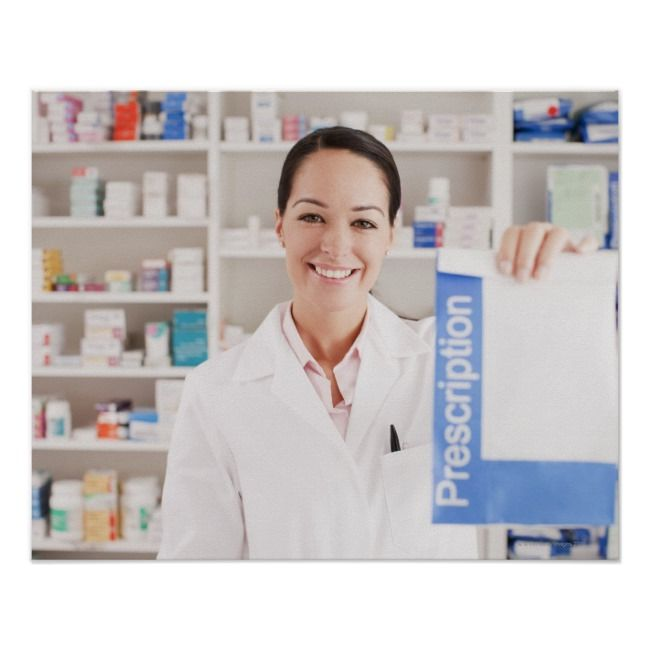 Pharmacist holding prescription in drug store poster | Zazzle.com