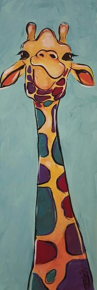 Acrylic giraffe painting by Kare King, fun lesson idea for wine and canvas or kids diy painting class
