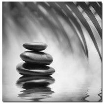 Black Stone Reflection, B&W (Square) art on canvas from http://www.thecanvasartfactory ships worldwide!  #art #stones #spirituality #calm #peace #focus #black #white #photography #home #decor #wallart