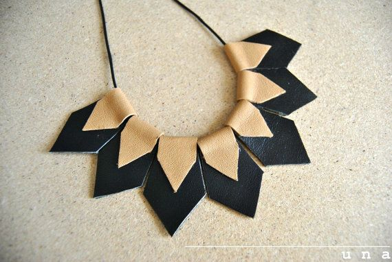 Statement Necklace-Geometric Necklace, leather necklace, gift idea, for her