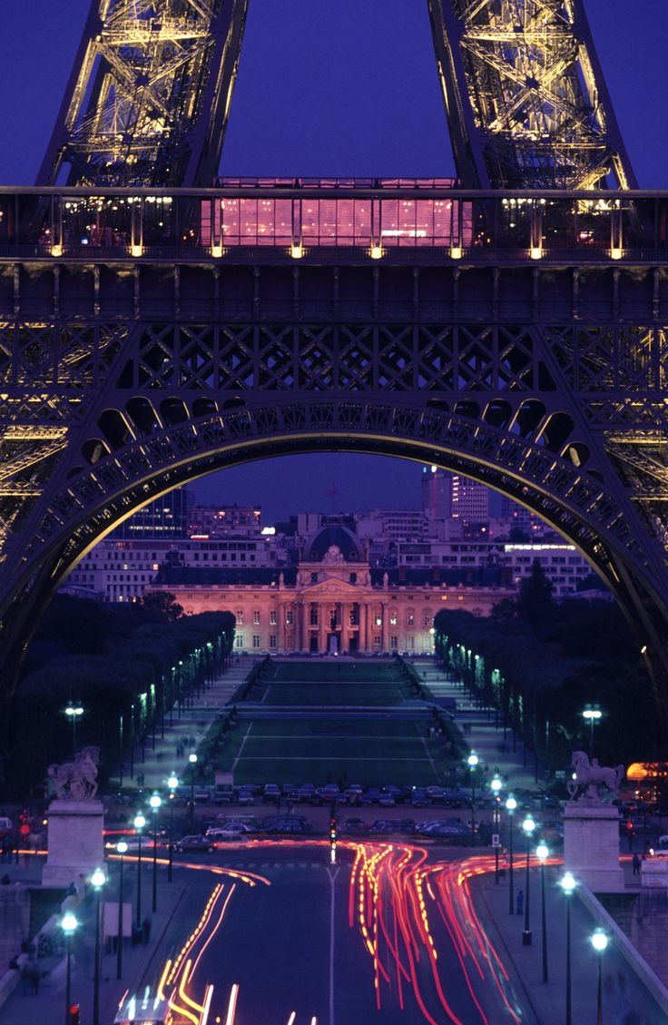 The Eiffel Tower base on a beautiful Paris night.