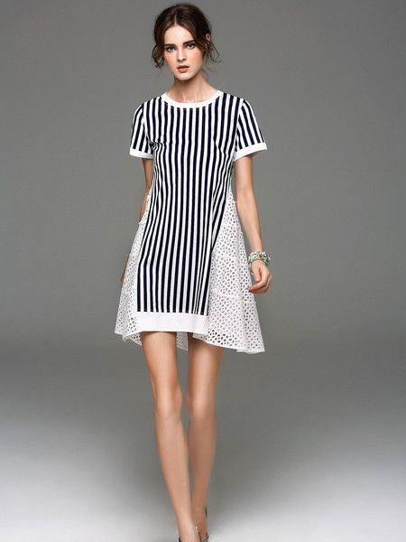 Stripe Paneled Cotton Mini Dress #casual #beauty #weekend #outfits