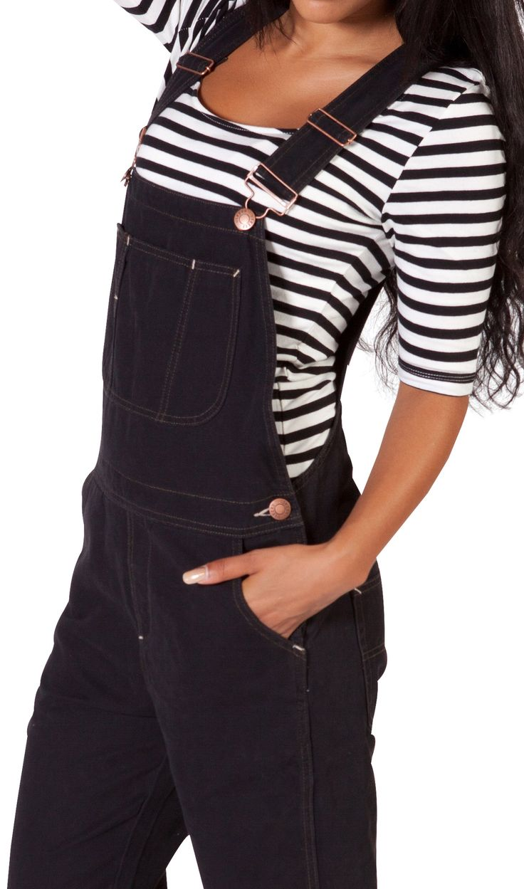 Oh so stylish USKEES Black Dungarees (overalls) for women. Also very comfortable with lots of handy pockets. #overalls #dungarees