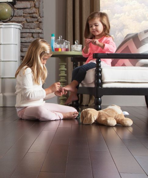 Kids love playing on Mohawk's hardwood flooring with ArmorMax finish!