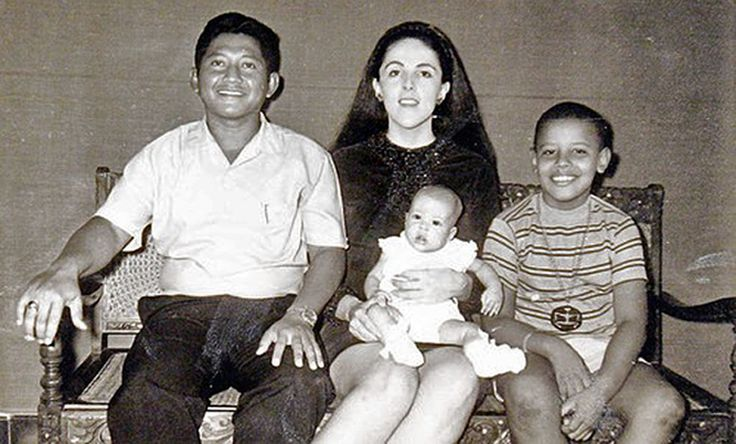 Barack Obama With His Stepfather (Lolo Soetoro)  Mother (Ann)  And Sister (Maya) In Indonesia (1970)