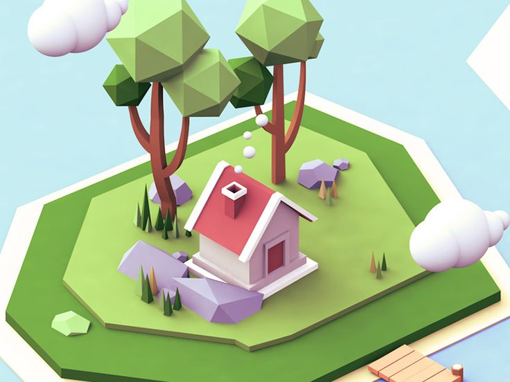 Small house and small island built for a recent project. Full View: http://d.pr/i/deXJ Thank you to @Lane Yu and dribbble华人帮 for the invite.