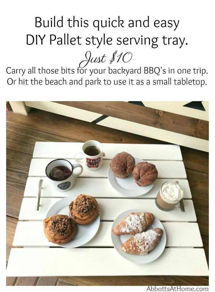 Make this Pallet-style Large Serving tray for free from scrap wood or buy new wood to build it for around $10. This pretty pallet projects DIY Serving Tray is great for backyard BBQ's, picnics, beach trips, and pool parties. #PalletDIY #PalletDIY #PalletFurniture #PalletTray
