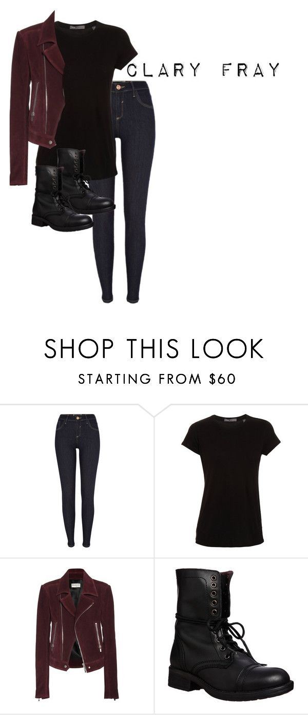 """""""Clary Fray"""" by ava-adams123 ❤ liked on Polyvore featuring River Island, Vince, Balenciaga and Steve Madden"""