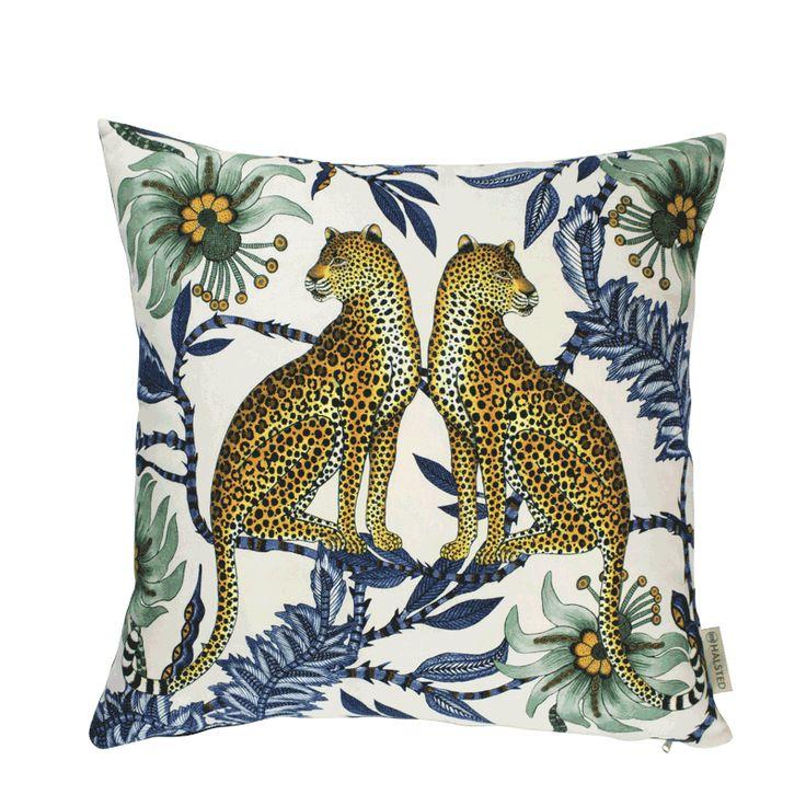 100% Cotton. Printed 50x50cm cushion in Lovebird Leopard design, Tanzanite colour. Back of cushion in a Black colour Cotton .