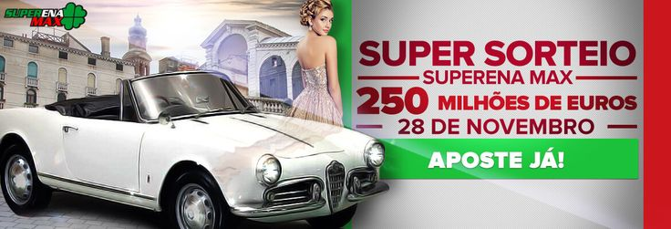 Super sorteio surpresa da Superena Max!  Você já está sabendo?  Serão 250 milhões de euros neste sábado!!! #loteria