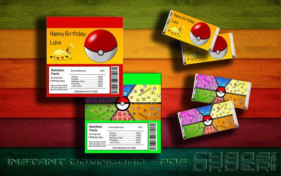 Pokemon Candy Bar Wrapper Instant Download On Etsy Us 4 00