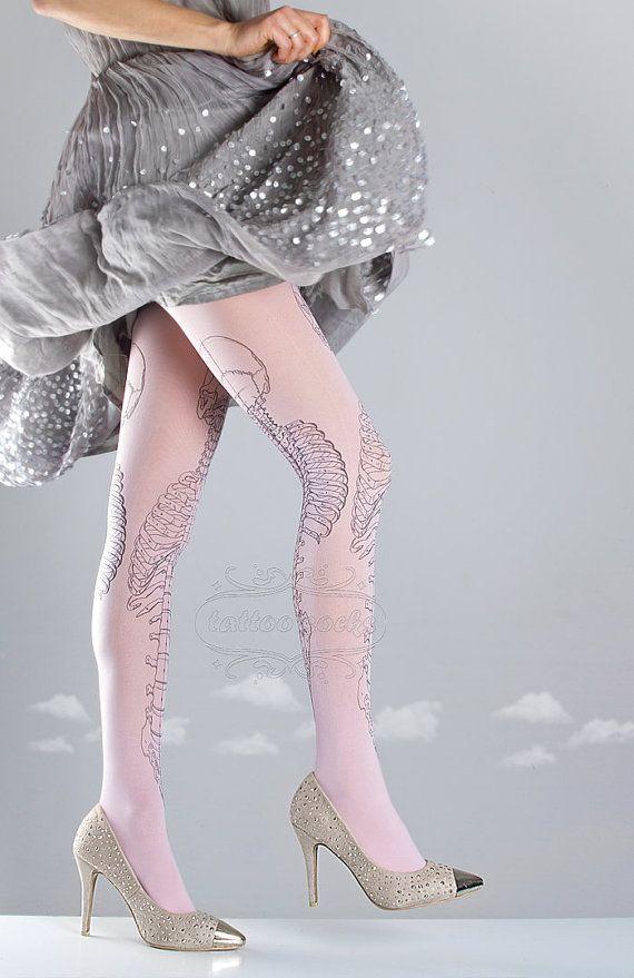 WinterSALE/// Skeleton tattoo tights medical by tattoosocks