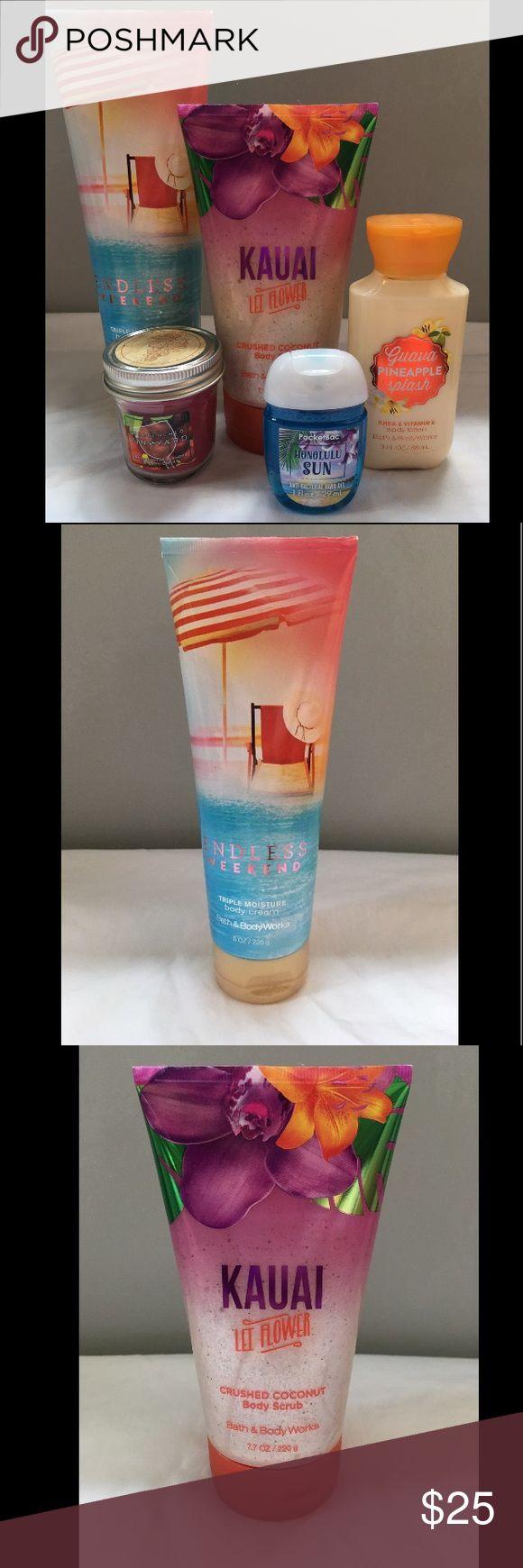 Bath and body works set (5) On sale! All never used. Endless Weekend triple moisture body cream (8oz/226g) original brand price $13 Kauai Let Flower crushed coconut body scrub (7.7 oz/220g) original brand price $16.50 Guava Pineapple Splash Shea and Vitamin E body lotion (3 fl oz/88 mL) original brand price $5 Sun-drenched Vineyard mini candle (1.3 oz/36g) original brand price $4.50 Honolulu Sun anti bacterial hand gel (1 fl oz/ 29 mL) original brand price $1.75 bath and body works Makeup