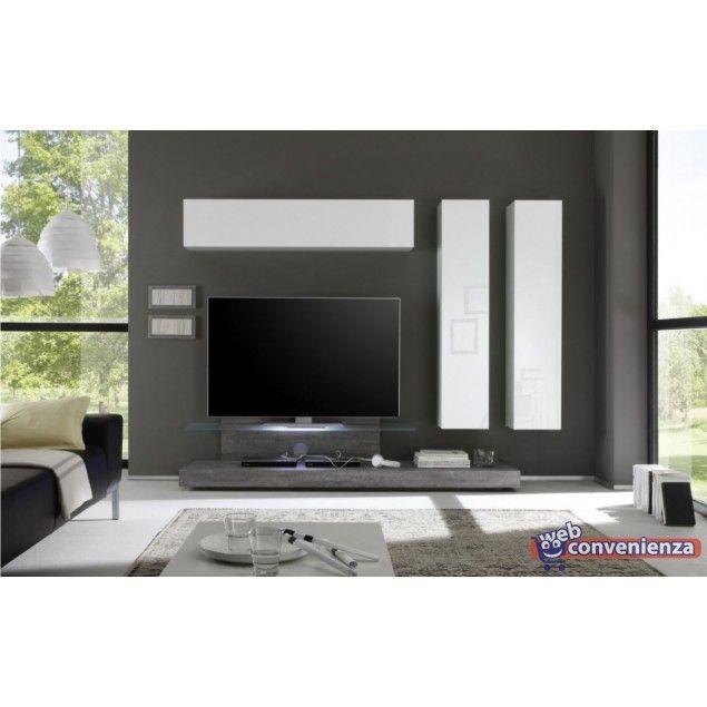 mobile porta tv Cube 13A Parete Attrezzata Moderna Colore Bianco e Rovere Grigio in Casa, arredamento e bricolage, Arredamento, Mobili TV | eBay