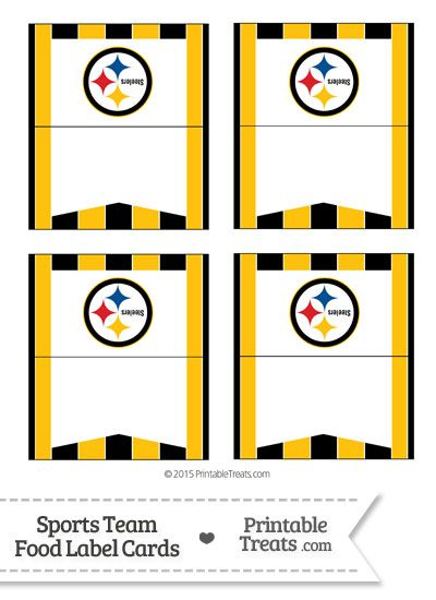 Steelers Food Label Buffet Cards From Printabletreats Com