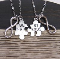 2 Best Friends necklaces, Best Friend, set of two, connecting puzzle pieces for friends, infinity charm, infinity love, puzzle Best Friends on Etsy, $28.00