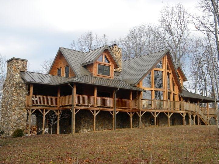 29 best wrap around porches images on pinterest decks for Log home porches