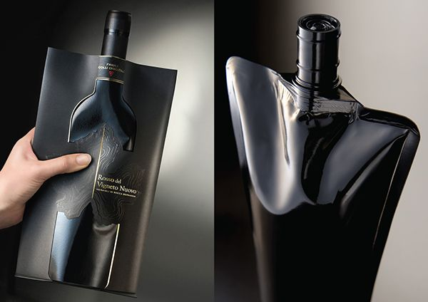 Wine Pouch (R)Evolution on Behance. It's a wine pouch designed to look like a wine bottle. I like the subtle black on black design.