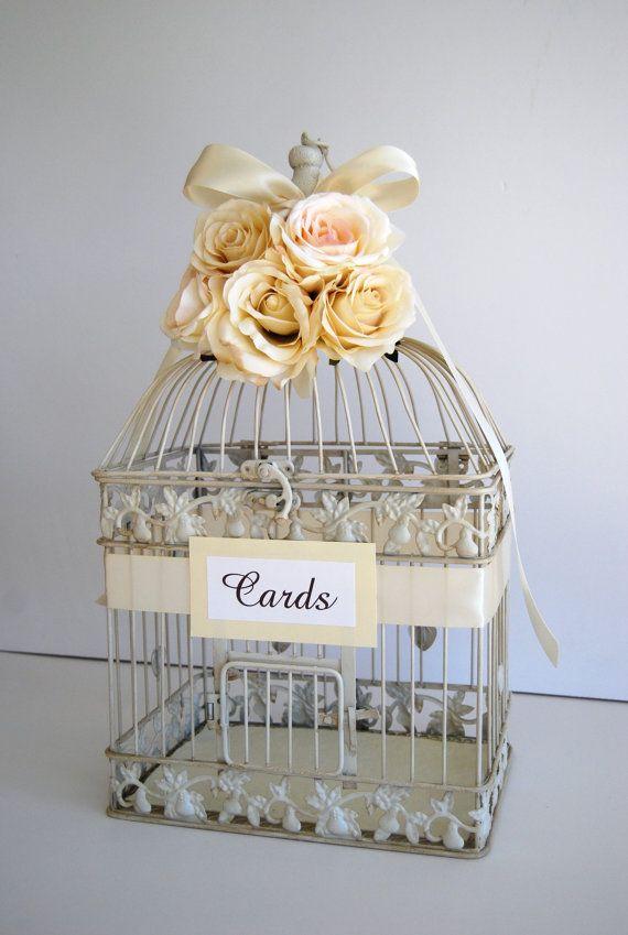 centerpiece bird cages | Custom Large Wedding Bird Cage Card Holder Money Holder - Ivory ...