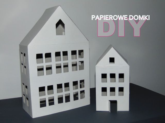 DIY : Papierowe domki - latarenki #DIY #tutorial #domki #handmade #papier