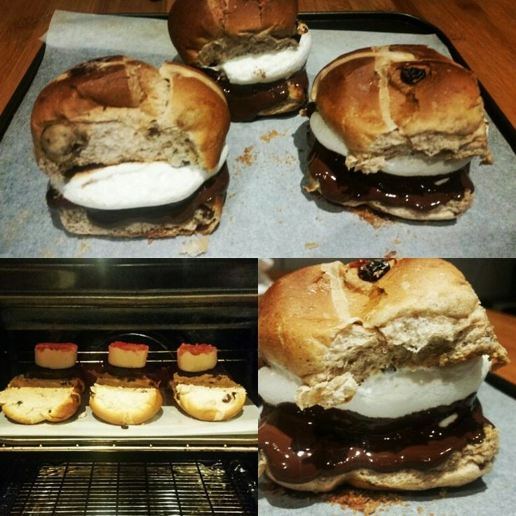 Easter hot cross bun smores