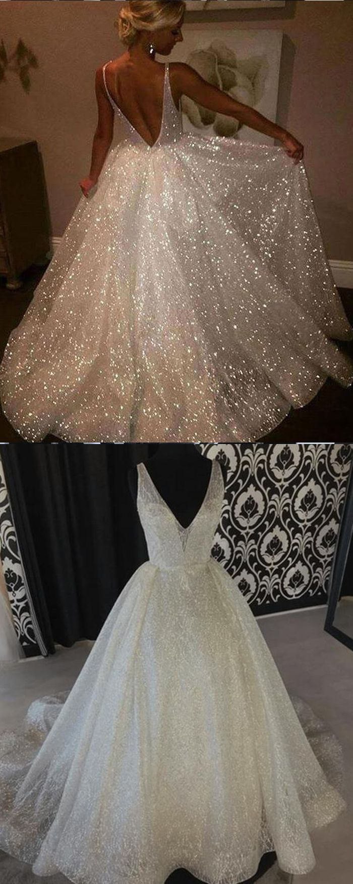 Gorgeous White V Neck Sparkle Sequin Pleated Evening Gown Pd1617 Wedding Dresses Sparkle Wedding Dress Ball Gowns Wedding [ 1750 x 700 Pixel ]
