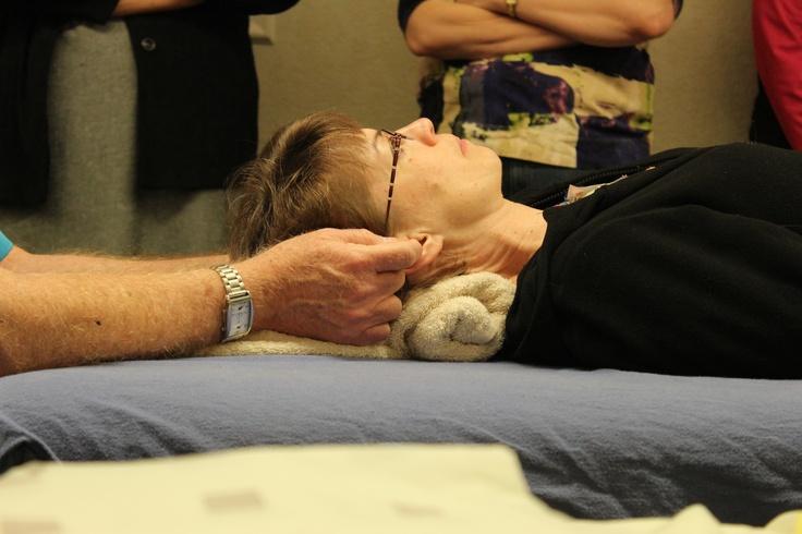 Bill Flocco demonstrating Ear Portion of Integrated Foot Hand Ear Reflexology Session. www.AmericanAcademyofReflexology.com