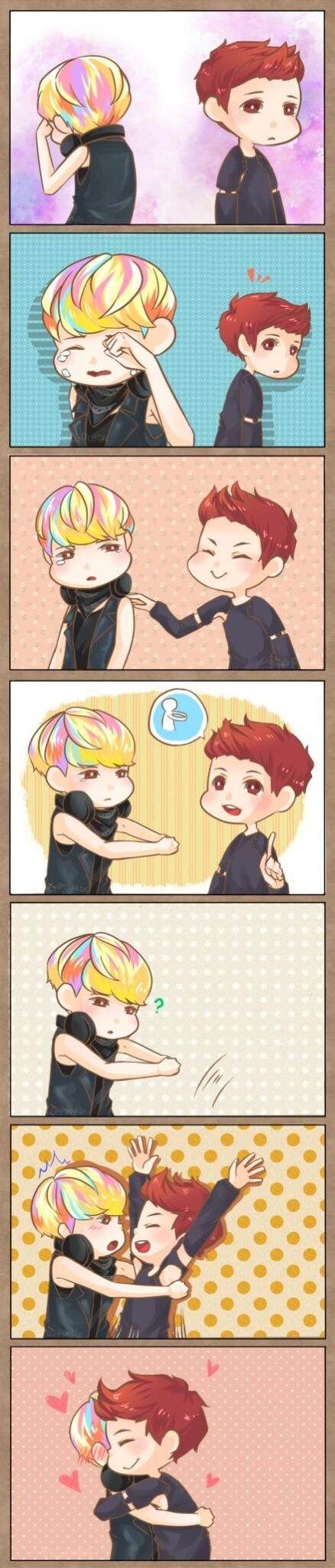 This is so cute. I don't ship these two AT ALL. But I just love their friendship. ^_^ Luhan and Sehun.