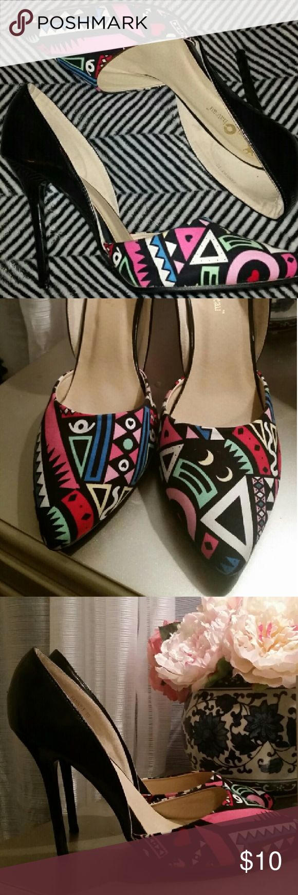 "90s-esque Patterned D'Orsay Pumps Fun pattern on the toe. The colors do pop in person. The back half is faux patent leather.   4.5"" heel Worn once or twice, no box. Queen Chateau Shoes Heels"