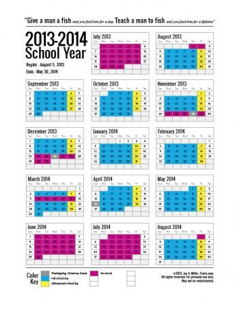 Free Printable School Calendar for 2014-2015 - Five J's Homeschool
