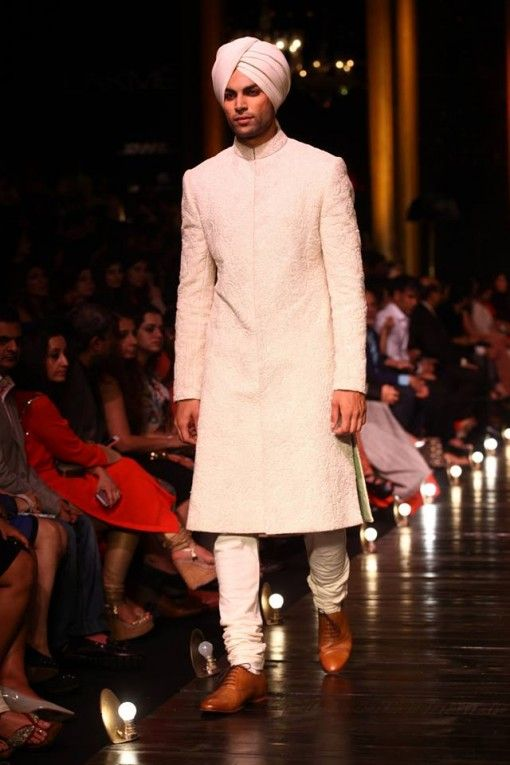 Lakme Fashion Week Sabysachi white cream groom sherwani with turban