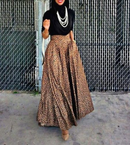leopard-puffy-maxi-skirt-hijab-chic-Hijabista fashion looks http://www.justtrendygirls.com/hijabista-fashion-looks/