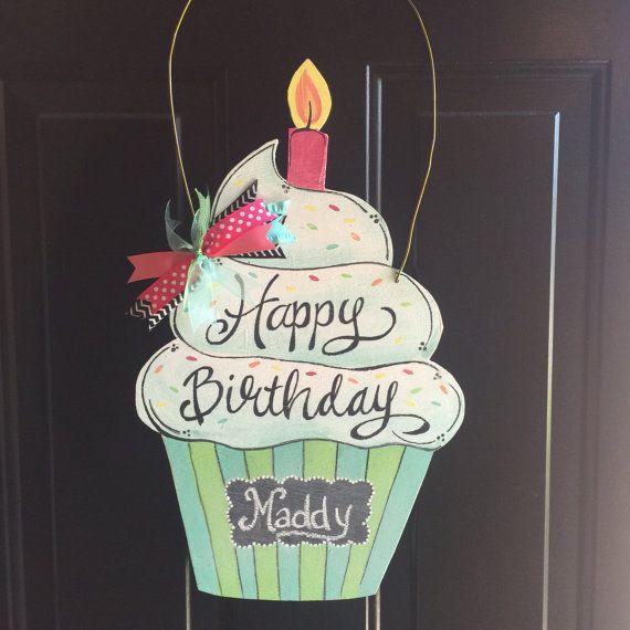 Birthday Cupcake Chalkboard Door Hanger by SandyEaselStudio