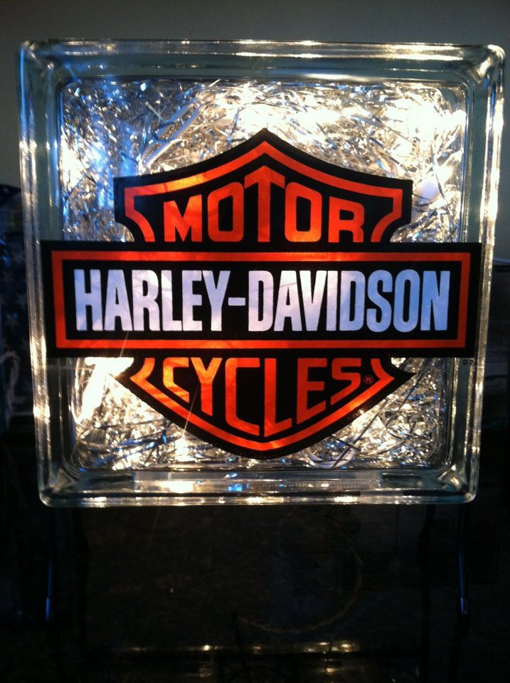 "8"" x 8"" Harley Davidson glass block with chrome/silver filler ~ 2012"