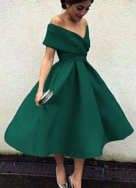 8eff8e05d276 Dark Green Off Shoulder Tea Length Party Dress, Satin Wedding Party Dresses,  Green Formal Dresses