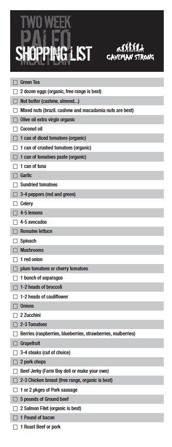 Shopping list Paleo Meal Plan Week 2