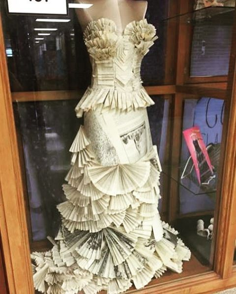 Weeded books=stunning prom dress. Created by Helen Cooper, library tech staffer, Lincoln East High School, Lincoln, NE.