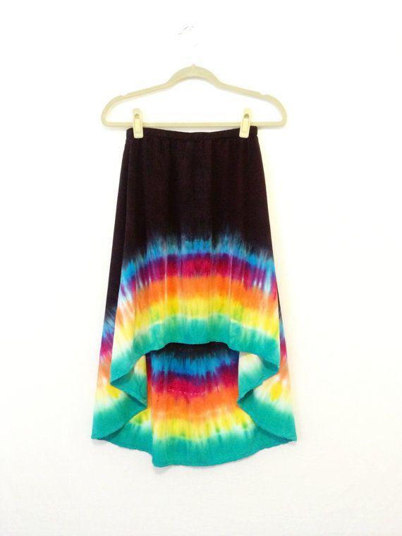 Tie Dye Skirt, Hippie Skirt, Bohemian Skirt, Rainbow, Summer Skirt