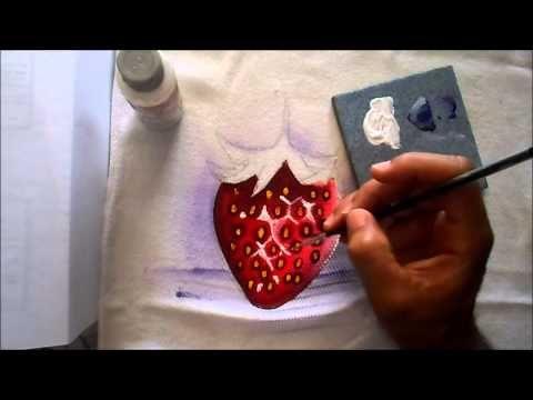 pintura de morango em tecido - YouTube
