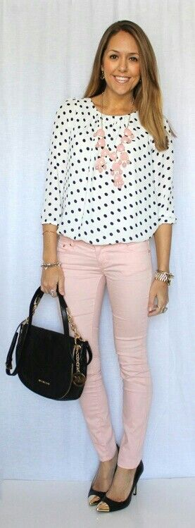 light pink skinnys would be cute with my black leather blazer