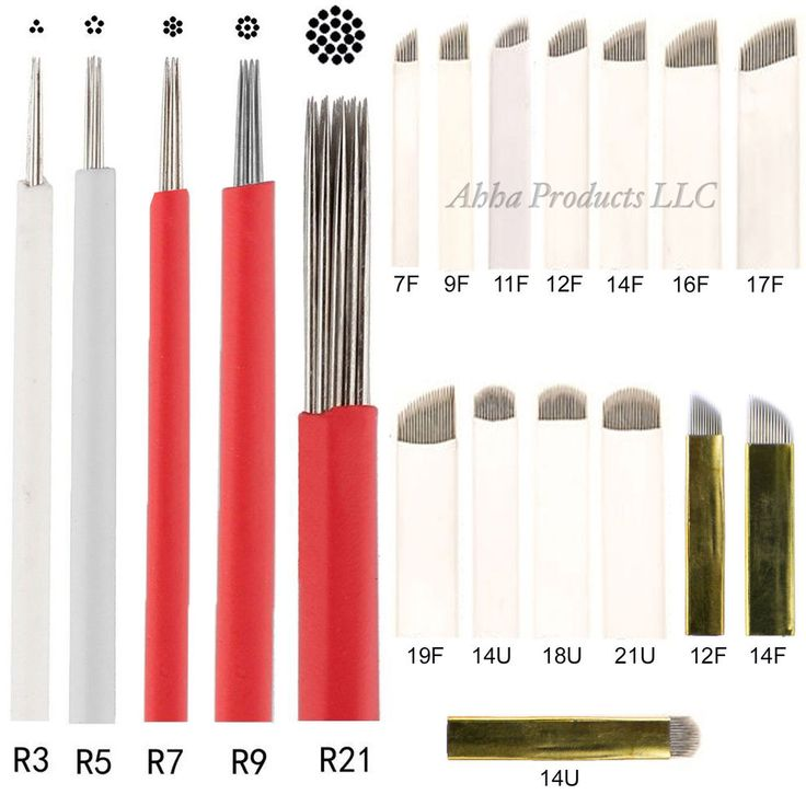 10pc Permanent Makeup Microblade Eyebrow Round Flat Curved Shader Tattoo Needles #AhhaProducts