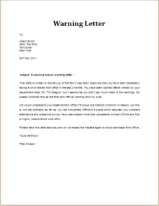 Unprofessional Behavior Warning Letter Download At HttpWww