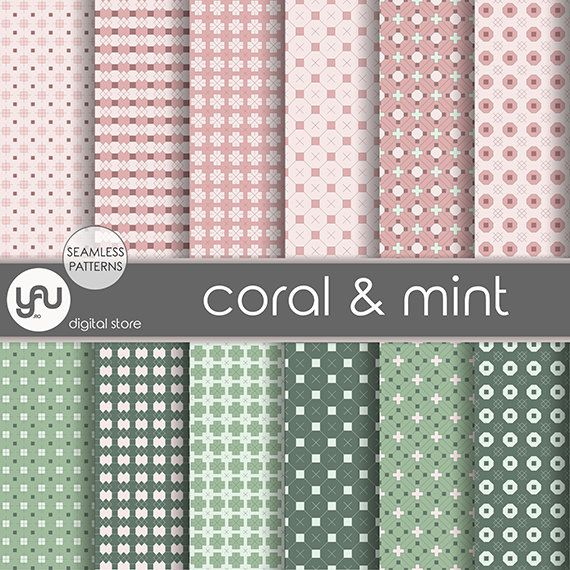 "Mint digital paper: ""CORAL & MINT"" with mint and coral geometric seamless patterns, mint paper, geometric paper for scrapbooking, cards"