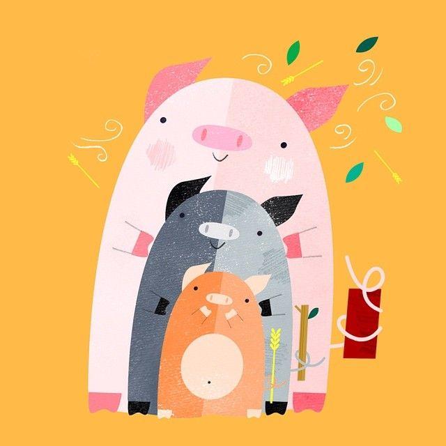 """Three Little Pigs illustration for #storytimeapp oink oink"" - Peter Cromer"