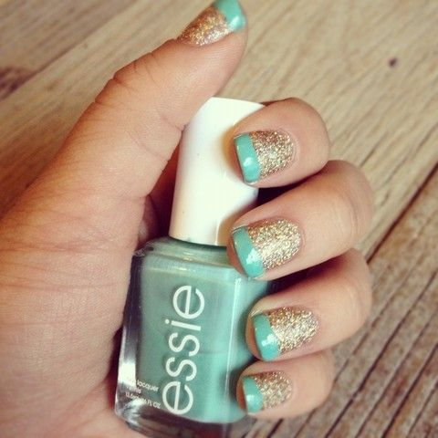 mint tips & glitter | Funky French Tip Nails | Pinterest | Glitter nails, Nail nail and Makeup