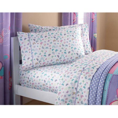 Mainstays Kids Sheet Set, Butterfly Patches, Multicolor