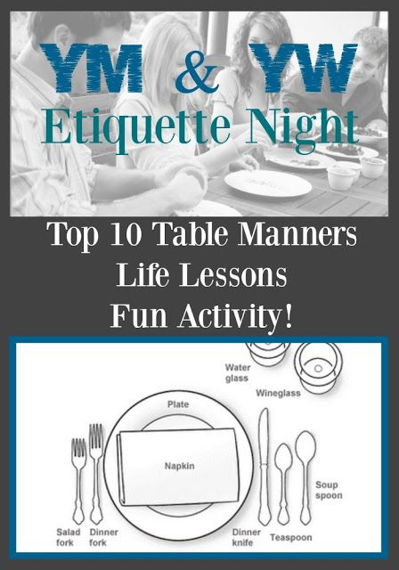 YM/YW Etiquette Night - notes and lessons of what to teach Youth about proper manners and etiquette at the table and in LIFE!
